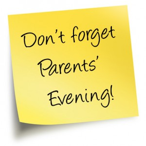 Don't forget parents' evening sticky note